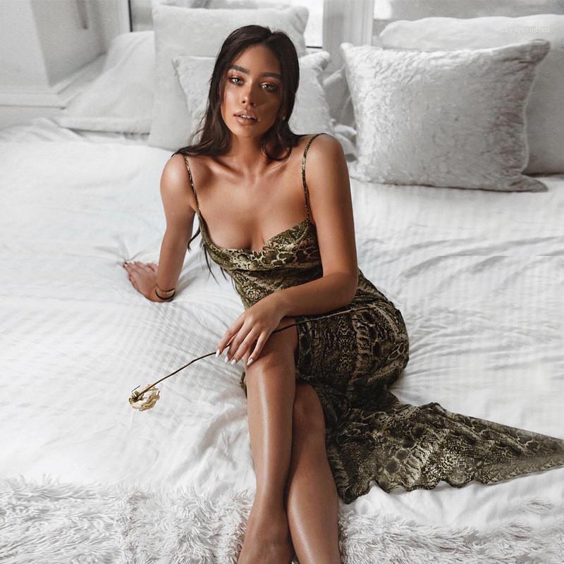 Boot-Ausschnitt-Kleid beiläufige Leopard-Sleeveless Kleider Damenmode Damen Designer Chiffon Maxikleider Sexy Split Backless