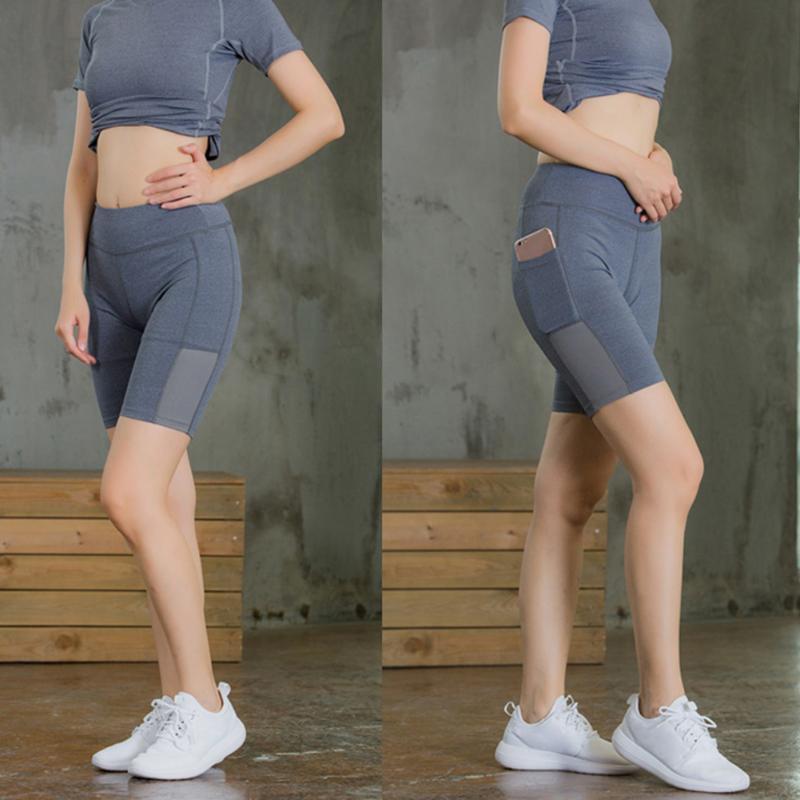 Şort Gym Koşu Kadınlar Hızlı Kuru Nefes Sweatproof Egzersiz Fitness Bisiklet Sıkıştırma Yan Cep Moda Elastik Yoga