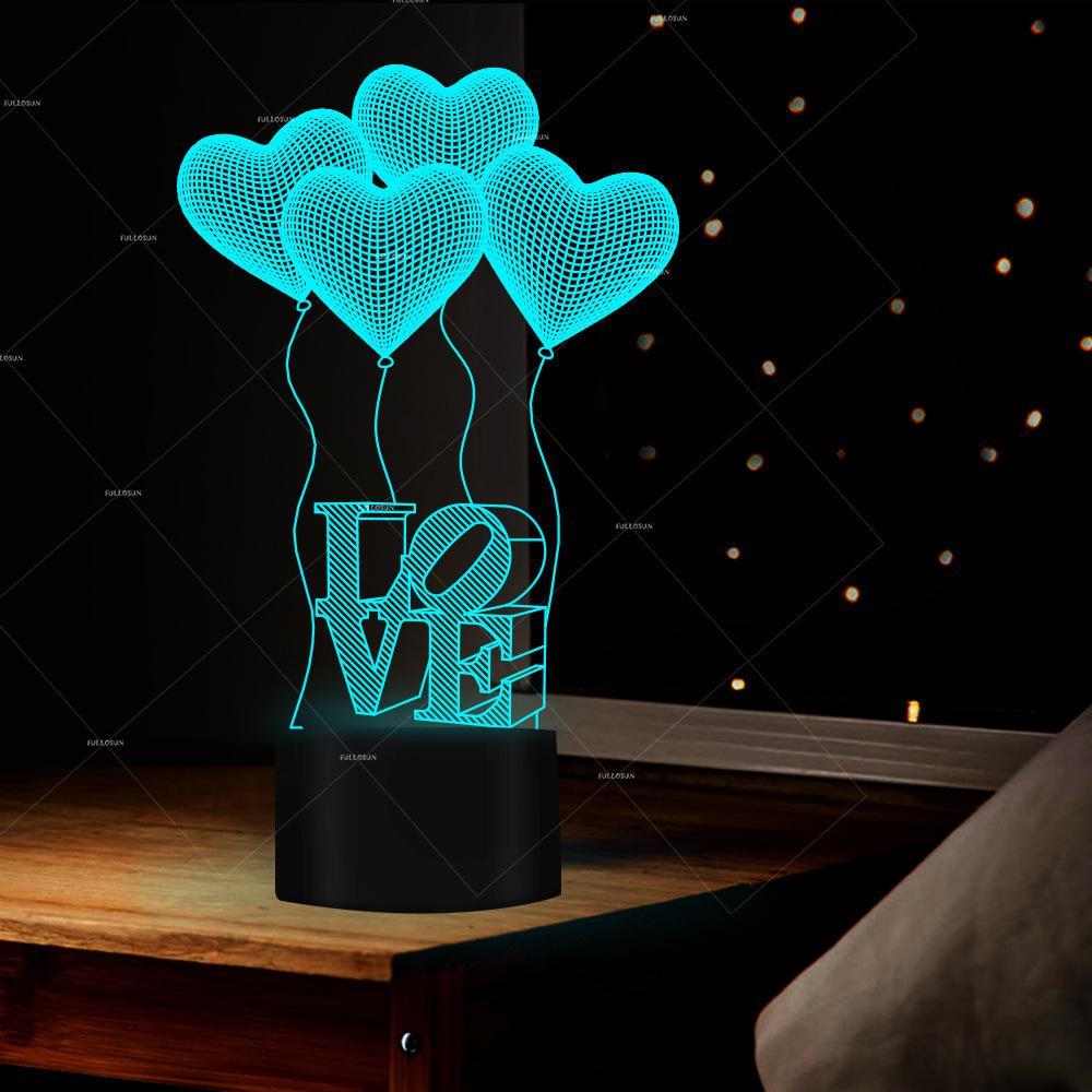 Pop2019 Fs - 2977 Rico Amor feliz Balão Modelando amante Boxe coisas coloridas Led pequeno Night-luz 3d Originalidade Desk Lamp
