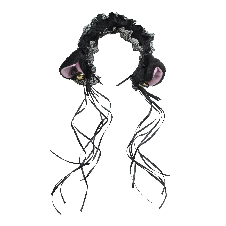 Cosplay: Orelhas de gato Lace Headband e fita - Preto