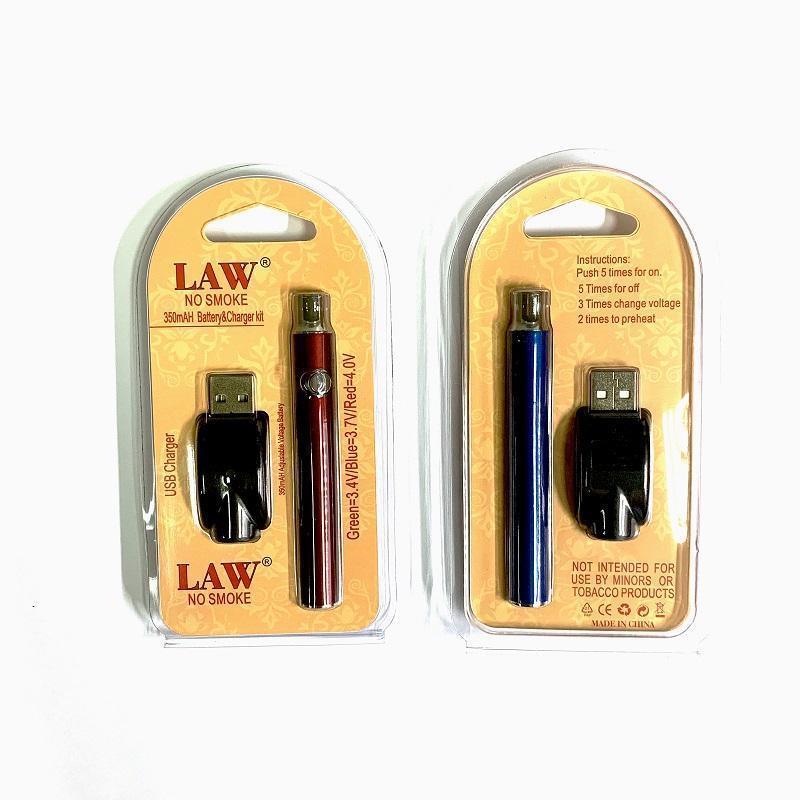 Lei pré-aquecimento VV Battery Charger Kit 350/650 / 100mAh Pré-aqueça o toque Variável Voltag Vape bateria por DHL