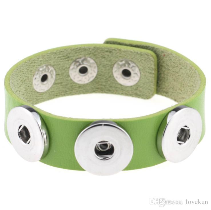 Mode NOOSA Rvica Chunk Bracelets À La Mode Bracelet Snap Bouton 14 Couleurs PU Bracelet En Cuir DIY Bijoux En Gros Mélange De Couleurs Pu En Cuir Noo