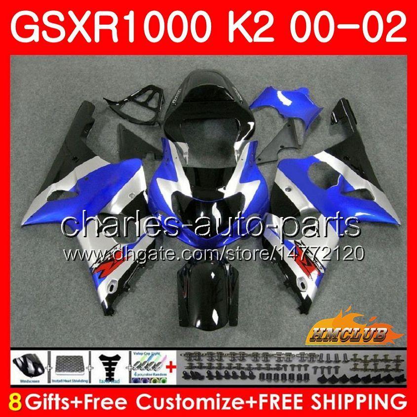 Rama dla SUZUKI GSX-R1000 GSXR1000 K2 GSX R1000 00 02 Zestaw Bodys 14HC.3 GSXR-1000 Blue Srebrzysty Nowy GSXR 1000 00 01 02 2000 2001 2002 Owalnia