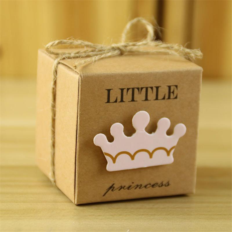 100 adet Şeker Kutusu Küçük Prens Prenses Taç Kraft Kağıt Hediye Kutuları Çanta Mavi Pembe Düğün Süslemeleri Favor Bebek Duş doğum günü