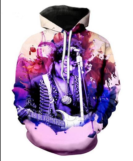 Nueva Moda 3D HD Imprimir Hombres Mujeres Cantante Jimi Hendrix Sudaderas Con Capucha Street Wear Casual Hip Hop Bolsillos Sudadera Ropa R0184