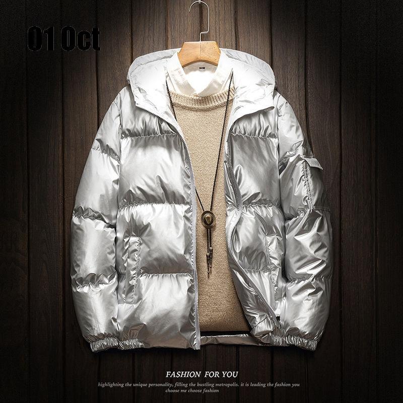 2019 Erkekler Kapşonlu UltraLight Termal Kalın Coat Simli Sheen Ceket Sıcak Ceket Parka Dış Giyim Altın Palto
