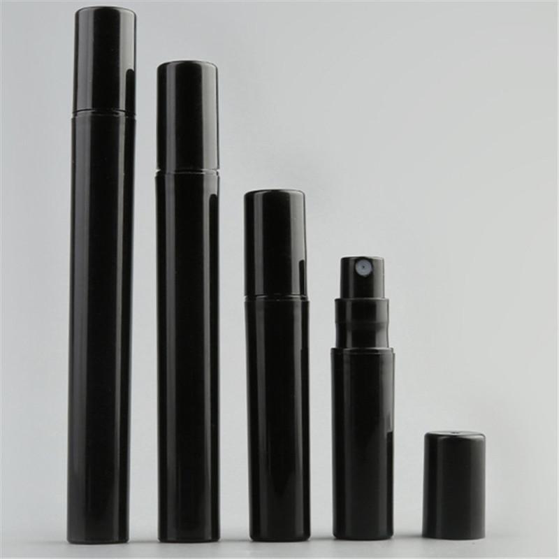 فارغة 2ML 3ML 5ML 10ML البسيطة البلاستيك الأسود بخاخ زجاجة عينة تعزيز الصغيرة العطور البخاخة