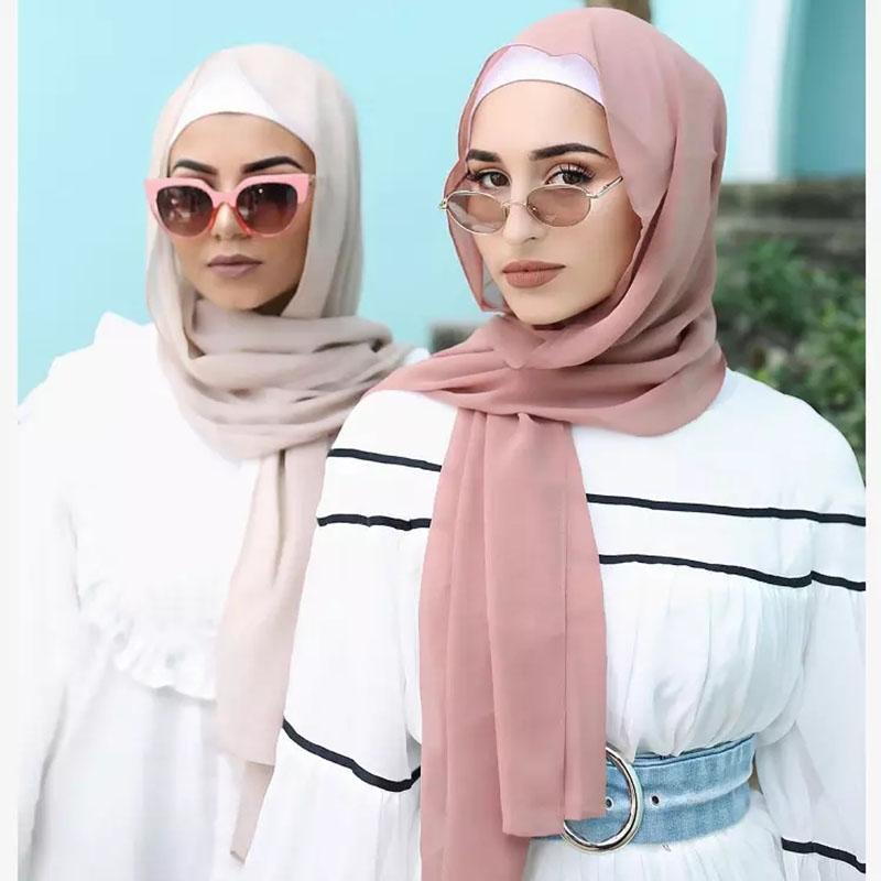 Musulman écharpe femmes foulard en mousseline de soie bulle simple hijab envelopper imprim couleur unie châles bandeau foulard / écharpe 78 couleurs