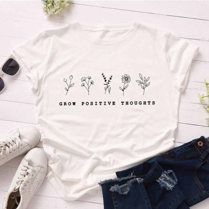 T Shirts Summer Blouses Women Cartoon Character Plant Print Ladies Shirts Fashion Short Sleeve Round Neck Modal Sweet Style Woman Clothes