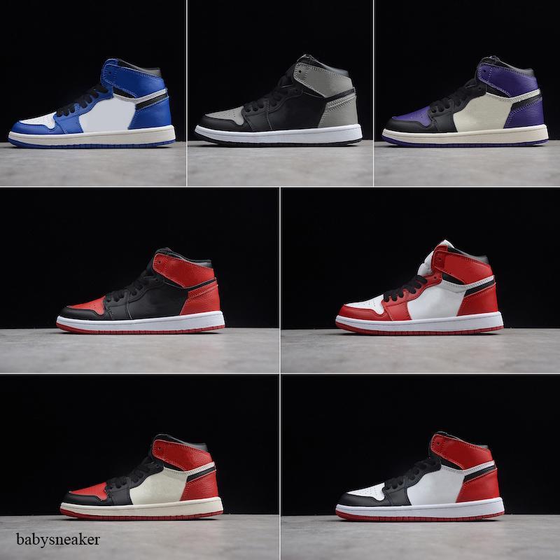 Nike air jordan 1 2019 1s Бред Детская кожа Шитье Mid Top Баскетбол обувь Оригинальные 1 OG Бред Дети High Top Спорт Скейтборд обувь