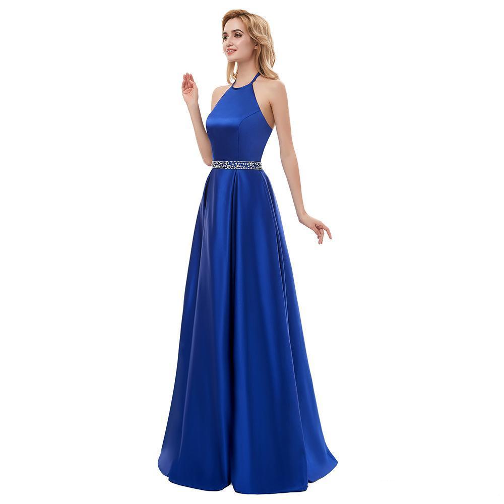 Satén moldeado de una larga línea vestidos de noche 2020 cabestro azul real Negro cuello vestidos de noche vestido de fiesta del traje de soirée vestidos de cóctel
