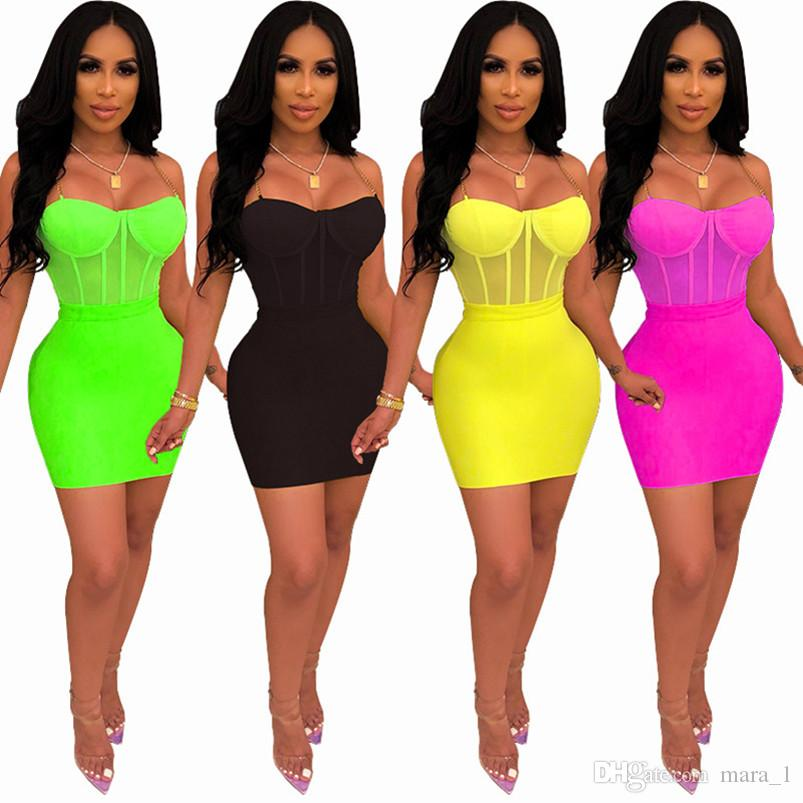 Women Sheer Bikini+Skirts 2 Piece Dresses Party Short Skirts+Chain Strap Jumpsuit Rompers Outfits Skinny Slim Night Club Clothing 1032
