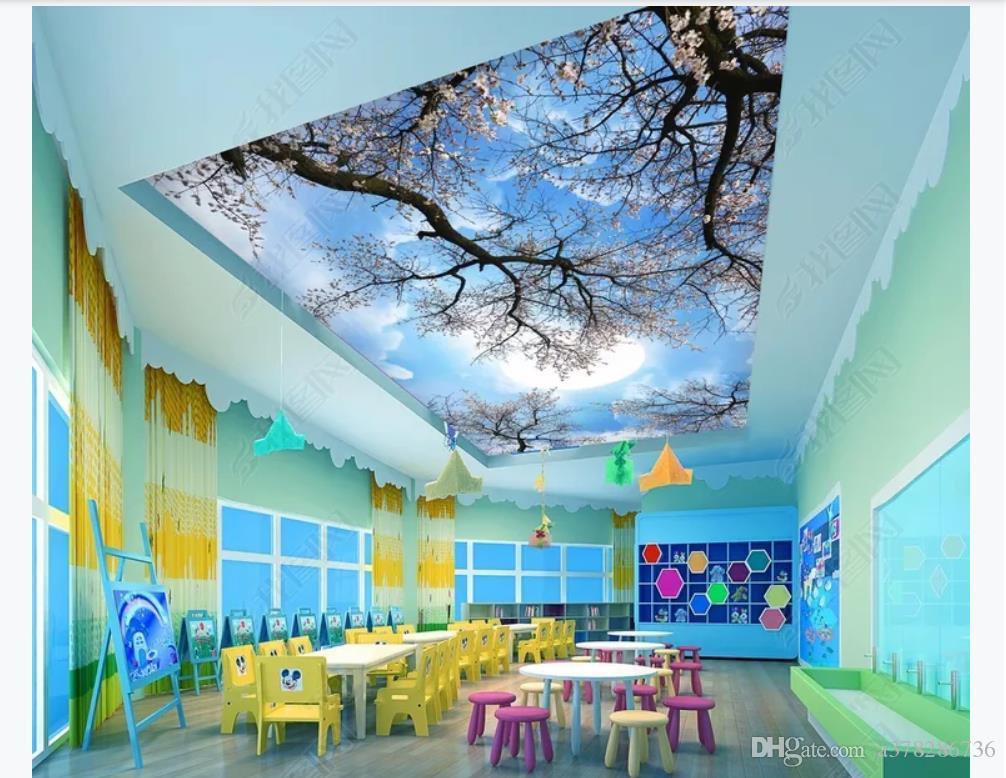 Personalizzato 3D seta zenith murale carta da parati foto decorazione HD ciliegio luna cielo zenith soffitto murale sfondo muro papel de parede