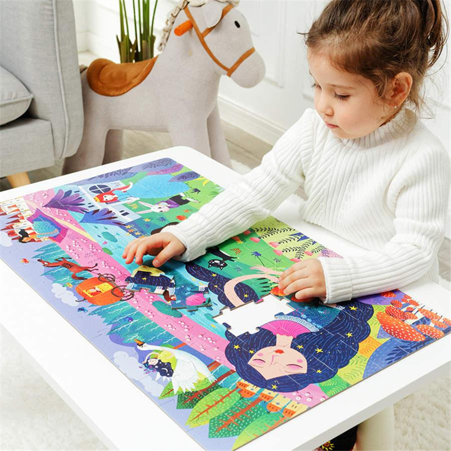 Kids Large Jigsaw Puzzle Set 100+ Pieces Baby Toys Dinosaur Fairy Tale Educational Toys for Children Gift