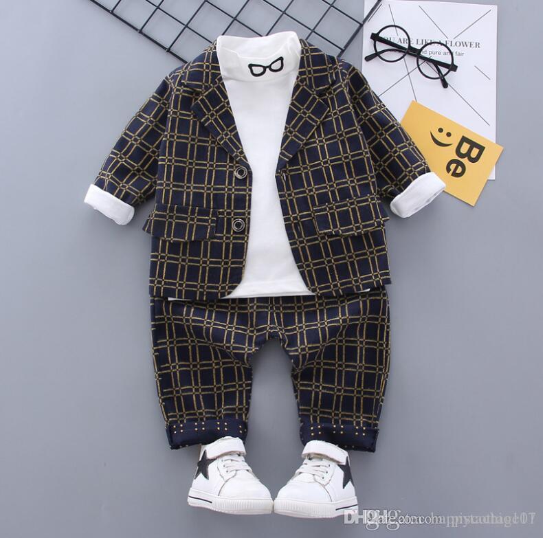 ojos 2020 nueva primavera y el otoño caballero 0-4 años de edad del niño pequeño de verificación del juego de pantalones de manga larga Traje de tres piezas
