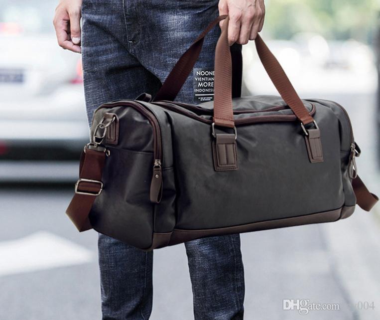 Üst Kalite Casual Seyahat spor çantası PU Deri Erkekler Çanta Büyük Büyük Kapasiteli Seyahat Çantaları Siyah Erkek Çantası Bez