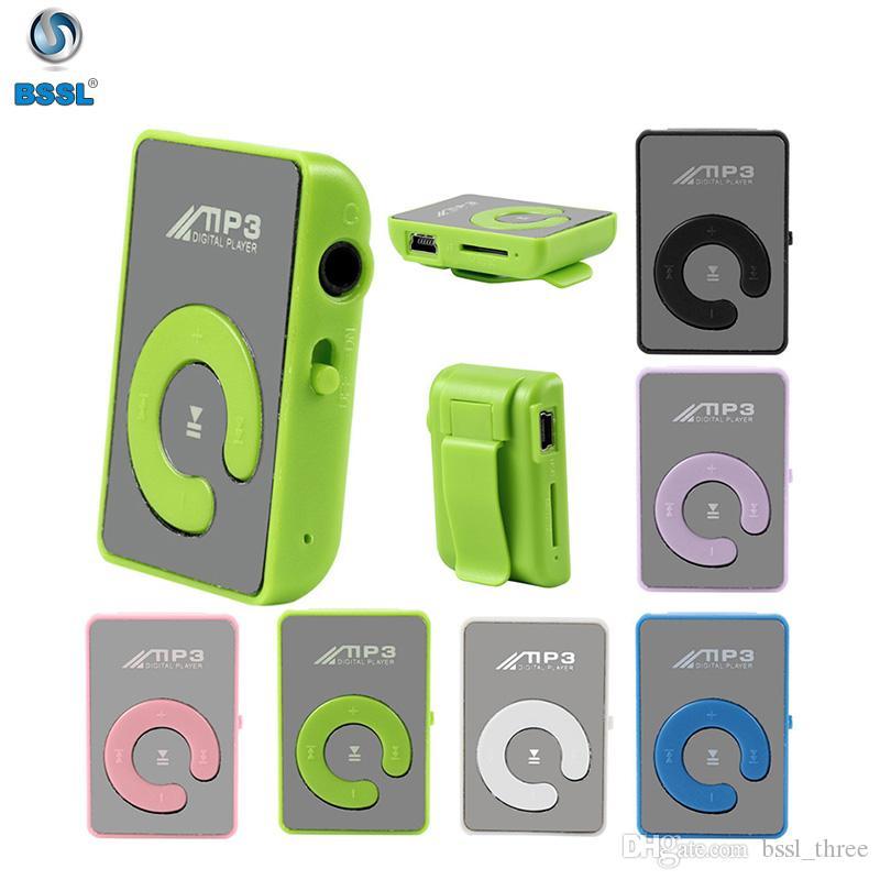 Мини клип зеркало USB MP3 поддержка 32 ГБ портативный цифровой музыкальный медиаплеер Micro SD TF слот для карт C Shape Sports Metal Бесплатная доставка
