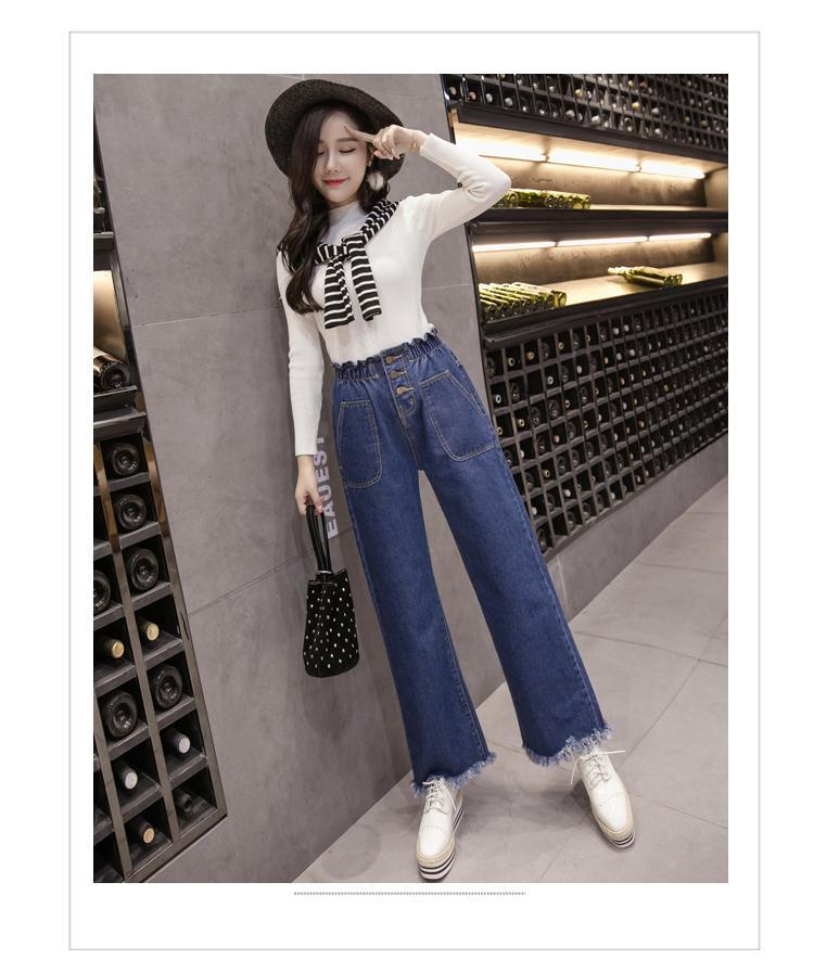 Light Blue Jeans mit geradem Schnitt-Frauen lösen Rettich Mode