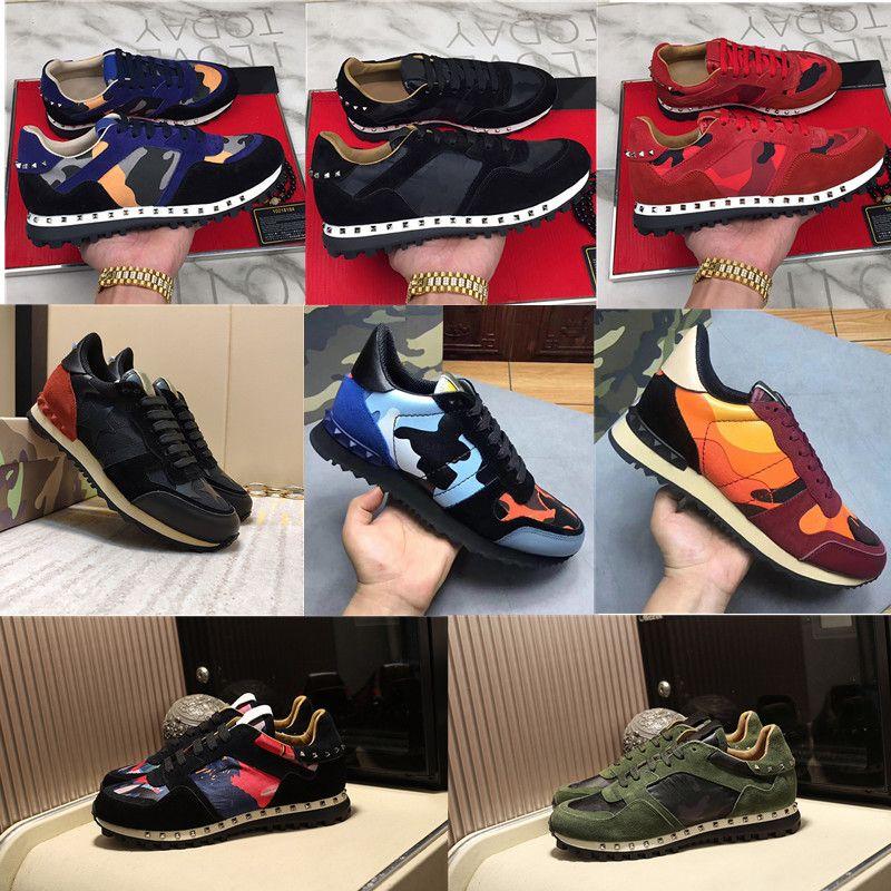 2020 Moda Calçados Homens Mulheres Suede Stud Rivet Rockrunner camuflagem sapatos de couro casuais Flats Sapatilhas corredor esporte Trainers