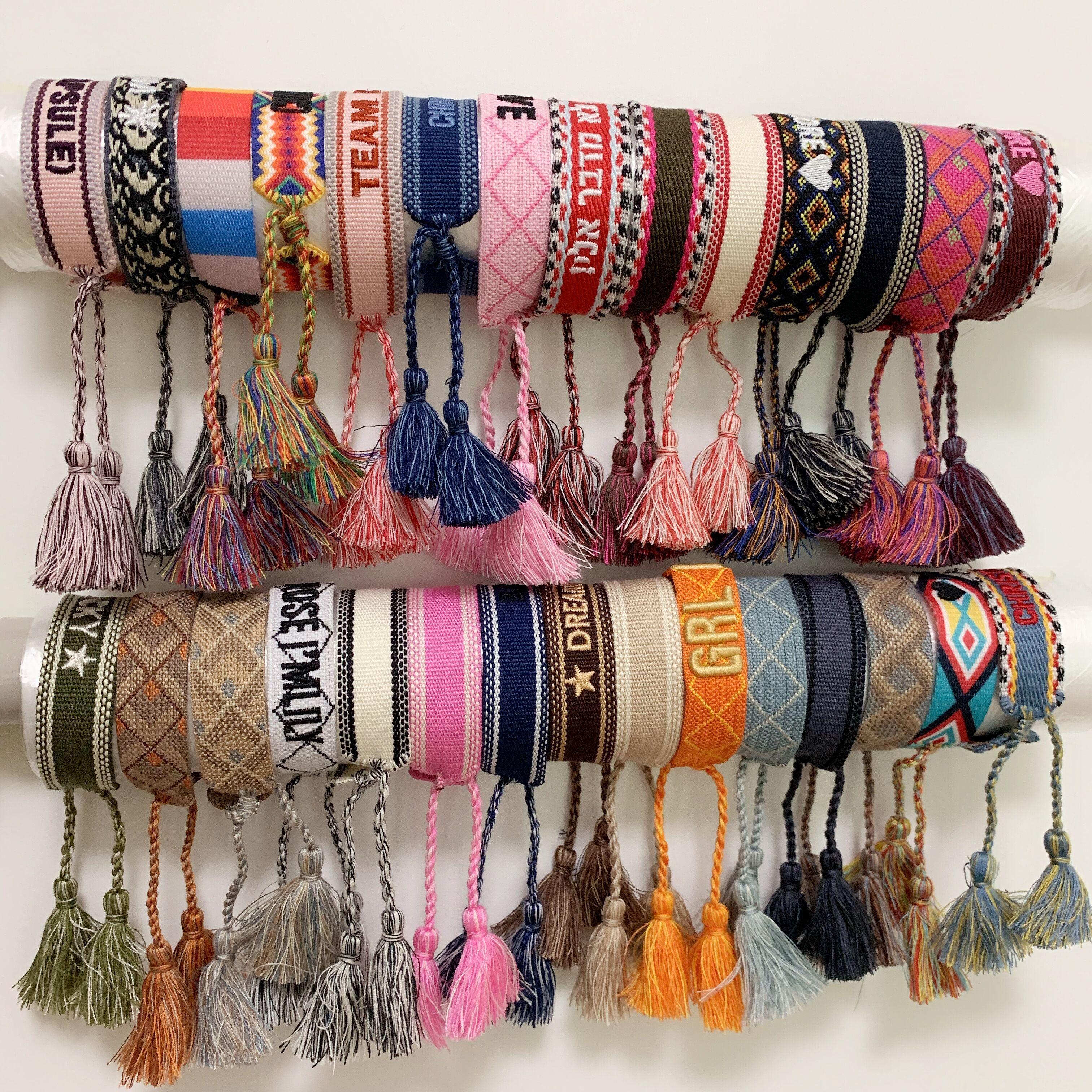 Designer Marca Jóias Mulheres Homens Pulseiras Moda Luxo trançada pulseira borla 34 Estilo Top Quality amantes bordados Pulseira presente