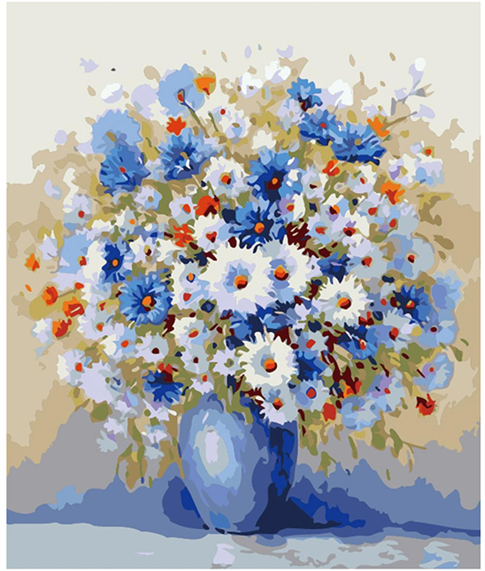 الكبار اليد رسمت ديي الطلاء بواسطة أرقام مجموعات الطلاء النفط الطلاء زهرية العمودي 16 x 20