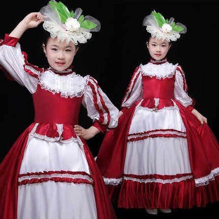 100real الأطفال الفتيات النبيذ الأحمر / هوت الوردي الكرة ثوب مرحلة زي ثوب النهضة ثوب مع زخرفة الشعر