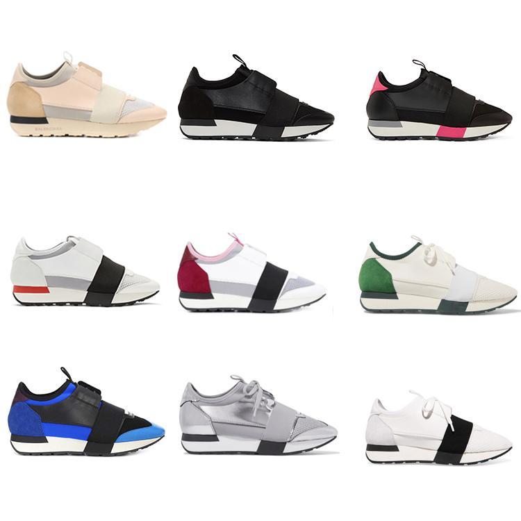 2018 Balenciaga shoes Yeni Tasarımcı Sneaker Erkek Kadın Deri Rahat Ayakkabılar Low Cut Nefes Örgü Sneaker Açık Havada Eğitmenler Koşucu Ayakkabı ...