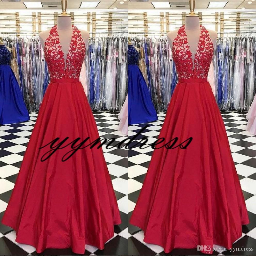 Красные Вечерние Платья 2019 Новый Дубай Арабский Пром Платья Аппликация Кружева Sexy A-Line Вечернее Платье Холтер V-образным Вырезом Спинки Vestido De Festa