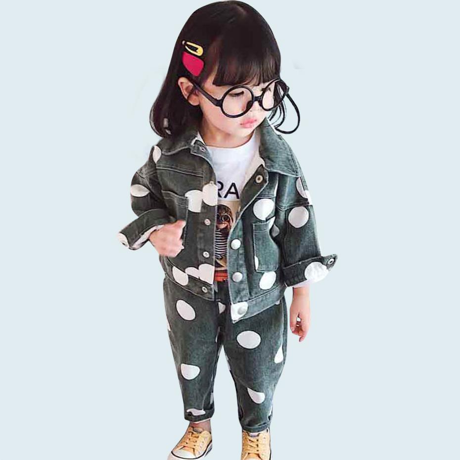 ملابس أطفال دوت سترات + جينز بنات مجموعة ملابس اخفض الياقة الدينيم دعوى للحصول على البدلة طفلة الخريف الجدة أطفال للبنات Y200325