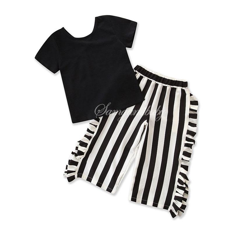 2 Pieces Clothing Sets Baby Girl Clothes Black Color Pullover T Shirt With Strip Print Long Pants Suit