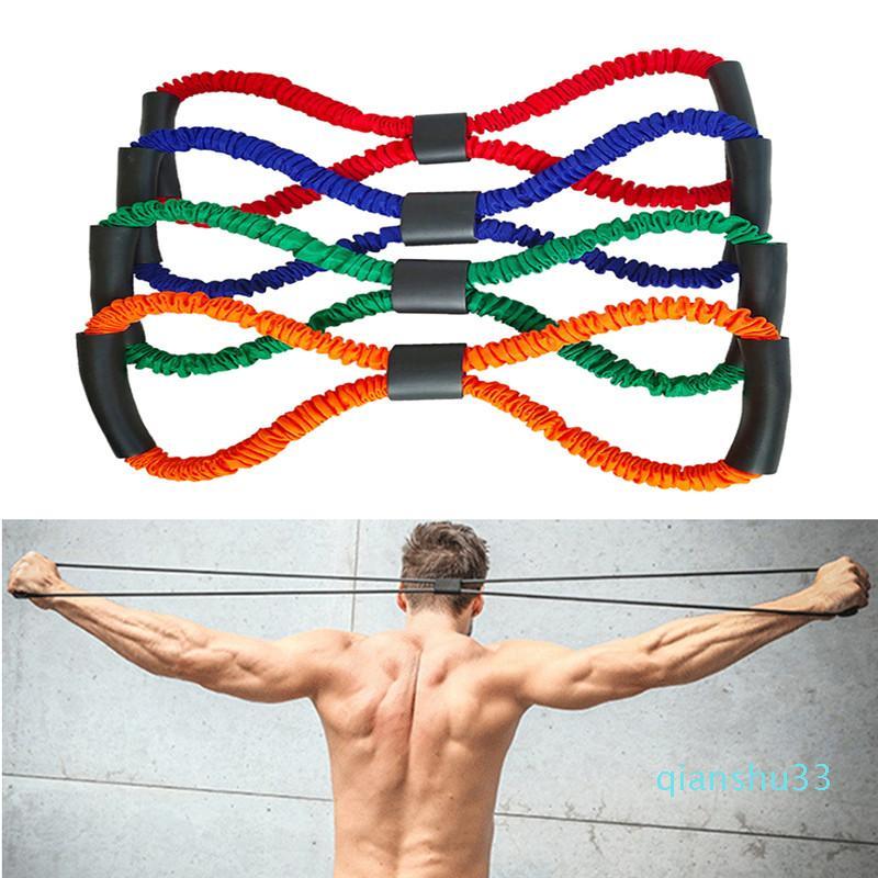 All'ingrosso-Hot Yoga Palestra Resistenza Fitness 8 Word Busto Expander gomma tubi fune di allenamento del muscolo resistenza lega elastico # 83 # 22