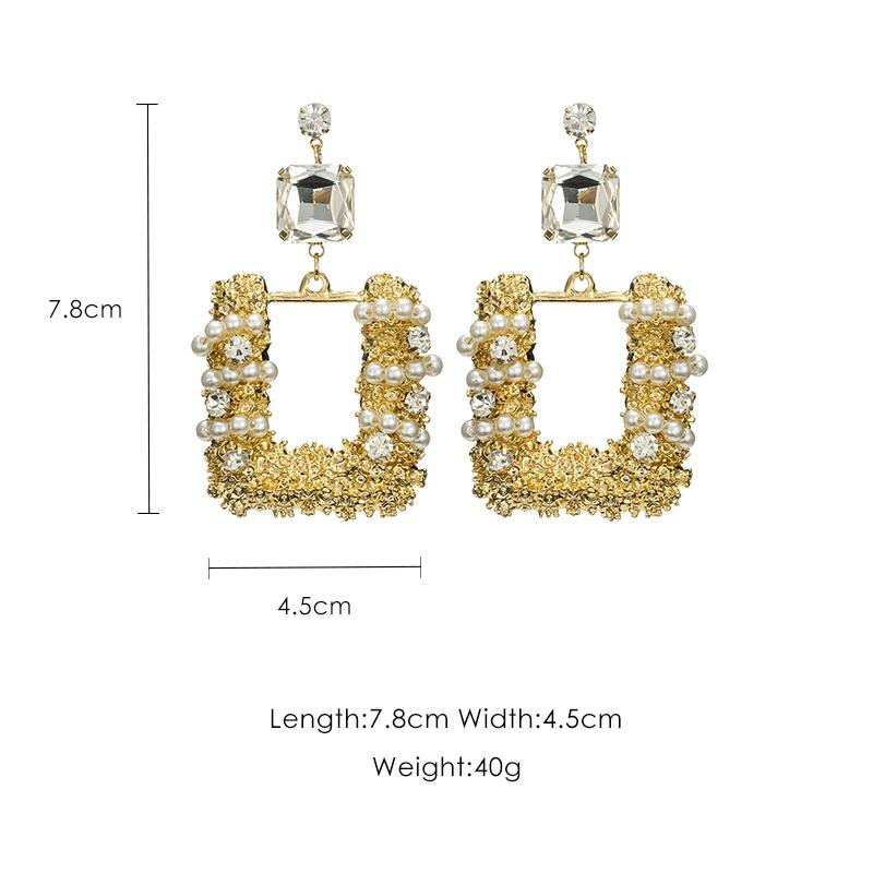 Square Long Hollow Earrings Female Exaggerated Temperament Pendant Personality Earrings Female J190718