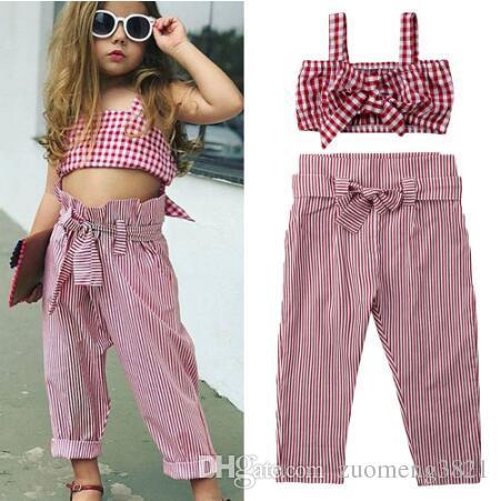 Toddler Kids Baby Girl Clothes Set Estate senza maniche Plaid Bow Crop Top + Pantaloni Plaid Cotton Casual Bambini Abbigliamento per ragazze