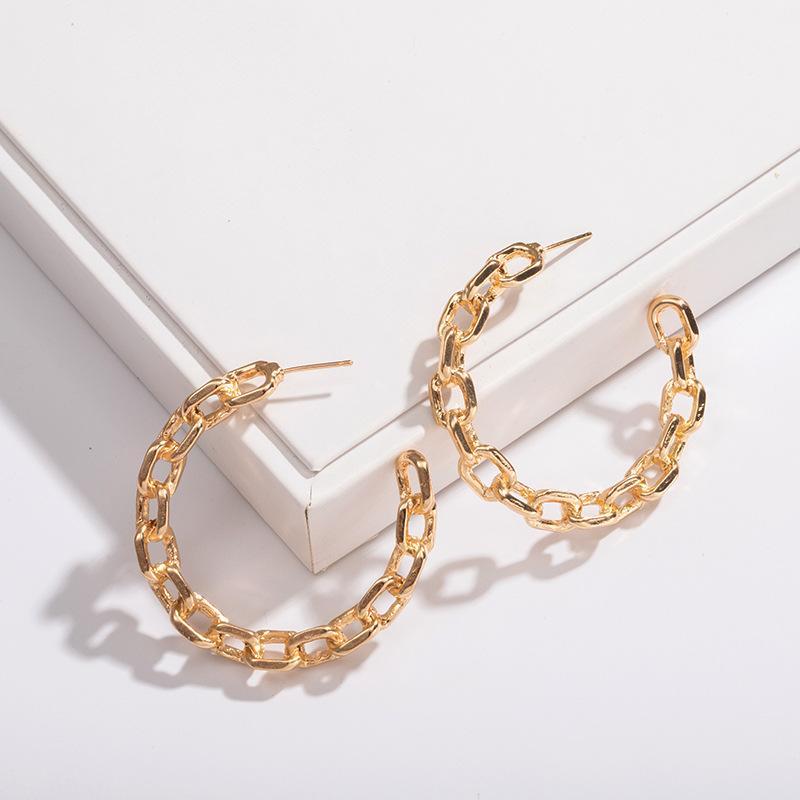 UJBOX European American Art und Weise neue kreative Design-Metall-Kette Ohrringe weibliches Temperament einfache Zubehör-Band-Ohrringe