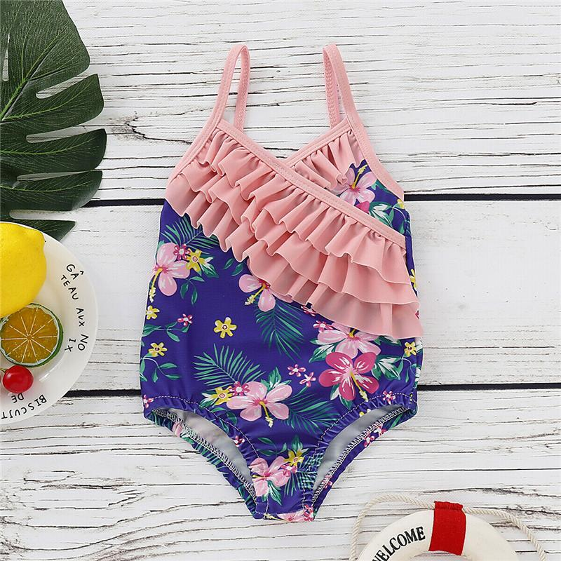 Meninas de verão Swimwear Floral Bikini Beachwear Terno Ruffle Swimwear Meninas One Piece Swimsuit Beachwear Swimming Suit