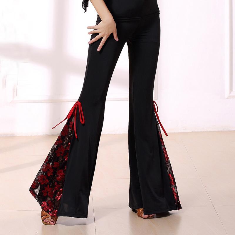 무대 착용 패션 패션 현대 레이스 꽃 라틴 댄스 의상 여성 / 여성, 볼룸 공연 착용을위한 긴 바지