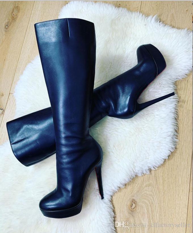 Marrom de couro sapatos pretos parte inferior vermelha de 140mm Salto Botinas da mulher Botas botas altas Bianca Botta plataforma impermeável festa à noite