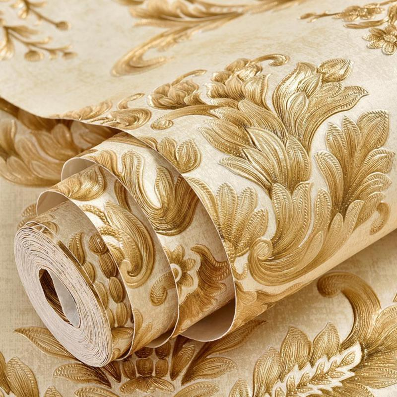 yazi Embossed 3d Wallpaper Gold Wall Papers Home Decor Damask Europe Self-adhesive Wallpaper for Walls in Rolls Living Room