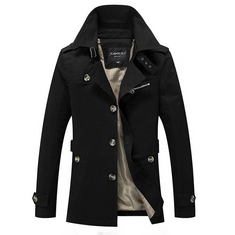 Mid-Length Men Jacket Autumn Business Windbreaker Coat Men's Casual Outwear Slim Fit High Quality Plus Size 5XL