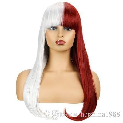 60 سنتيمتر لوليتا طويل مستقيم هالوين نصف أبيض مختلط الأحمر أومبير الانفجارات هامش حزب تأثيري الباروكة الاصطناعية