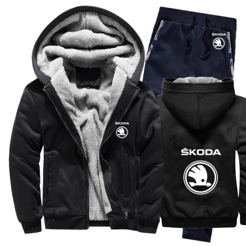 Chaqueta + pantalones 2pcs para logo sudaderas Hombres Skoda coches para hombre sudaderas traje de invierno caliente espesa el algodón paño grueso y suave de la cremallera del chándal para hombre