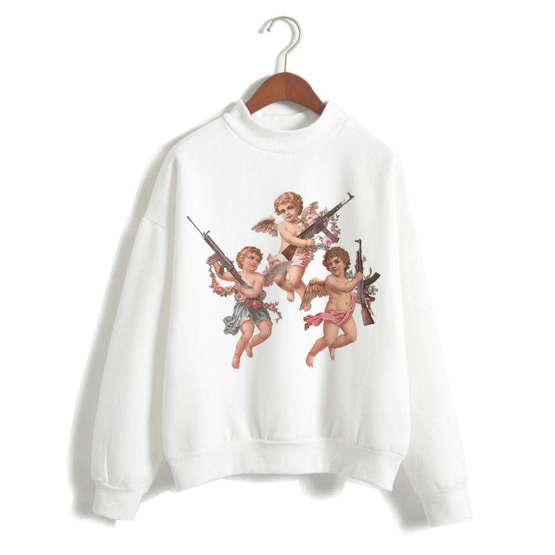 femmes d'ange sweat à capuche bande dessinée Cupidon 2019 Harajuku haut capuche régulier O-cou coréen sweat-shirts occasionnels de femmes surdimensionné
