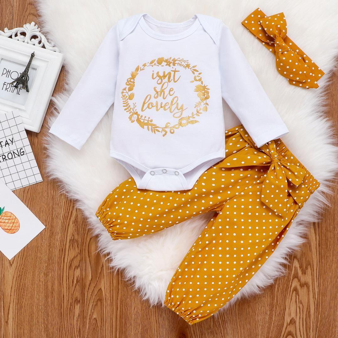 Bebek Kız Giyim Yenidoğan Bebek Sonbahar 3PCS Seti Pamuk Romper Dot Pantolon Kafa Kıyafetler Giyim Bebek Kız Giyim düşmek