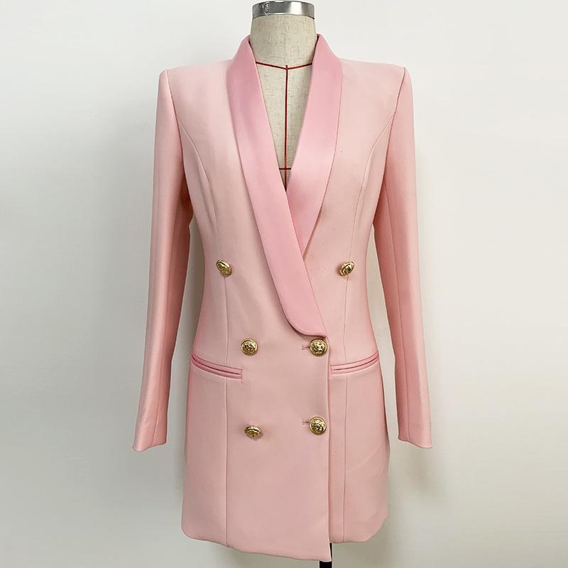 Premium Neue Stil Top Qualität Originaldesign Frauen Metallschnallen Doppelrei Breaked Classic Kleid Schal Kragen Blazer Ol Stil Kleid 5 Farbe