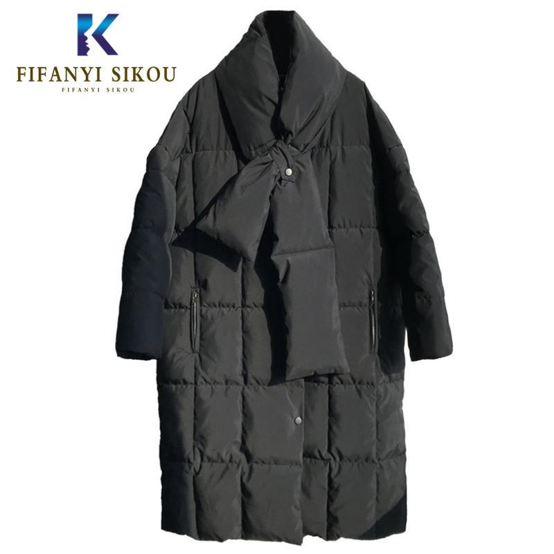 Yüksek kaliteli Parkas kadınlar kış ceket moda boy Aşağı Pamuk ceket rahat kalın sıcak palto uzun ceket parka eşarp ile