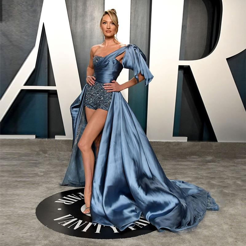2020 Oscars 2020 Candice Swanepoel Celebrity Red Carpet Pants High Low One Shoulder Formal Gown Evening Dress From Mufuzuo 323 37 Dhgate Com