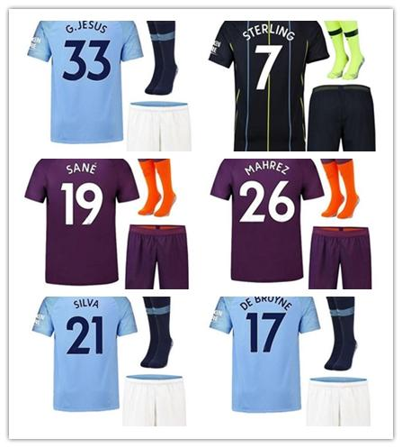 2018 stadt Mahrez Fussball Jerseys Startseite 2019 kinder kit stadt weg kun aguero de bruyne silva sane maillot kind fußball jersys sport shirt