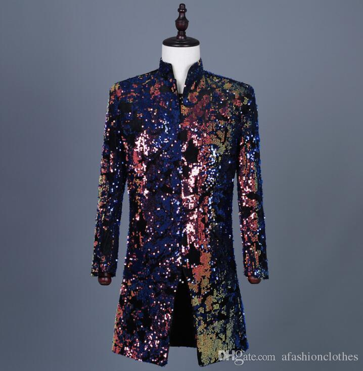 Hot sell Colorful printed flip sequins blazer men suits designs jacket mens stage singers clothes dance star style dress punk rock