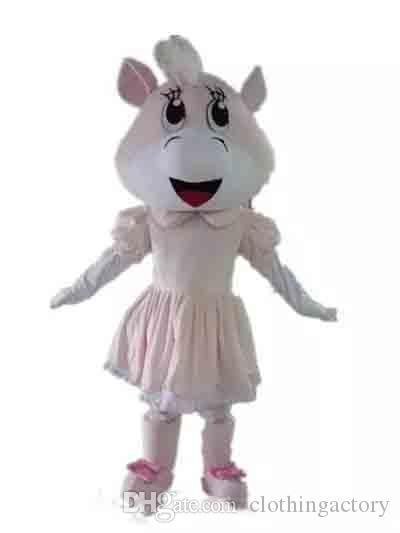 2018 Descuento de venta de fábrica de un disfraz de mascota de vaca con un vestido rosa para que los adultos usen