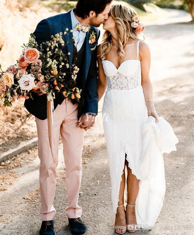 Vestidos de novia románticos con encaje sirena 2019 Spaghetti Front Split Sweep Train Garden Country Beach Vestidos de novia vestido de novia Talla grande